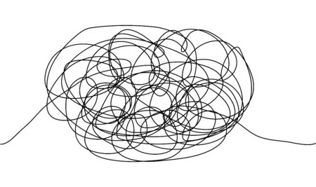 Abstract minimalist doodle on white isolated background. Continuous one line drawing