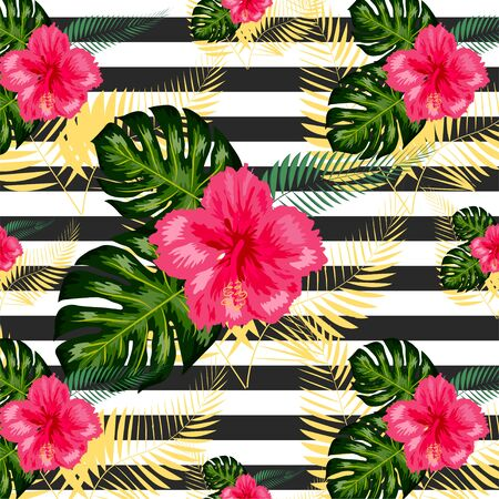 Tropical pattern. Tropical flowers and leaves for your design. Hibiscus, monstera leaf, palm leaves. Seamless pattern