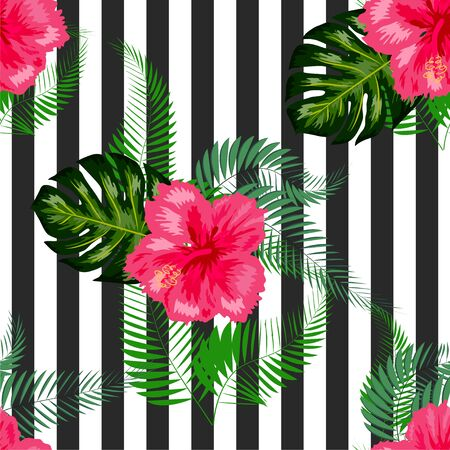 Tropical flowers and palm leaves on background. Seamless pattern