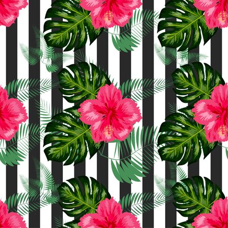 seamless tropical flowers with brush stripe pattern background.