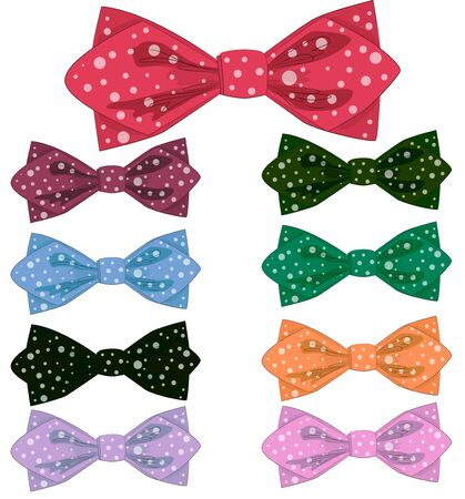 collection of polka dot bows with ribbons. Ilustracje wektorowe