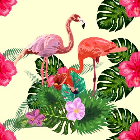 Seamless pattern of flamingos in love among the palm, flovers