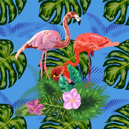 Beautiful seamless floral exotic pattern with tropical flowers, palm leaves, jungle plants, hibiscus, bird of paradise flower, pink flamingos Ilustración de vector
