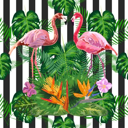 Seamless pattern with dark grunge stripes and pink flamingo. Pink flamingo design Illustration