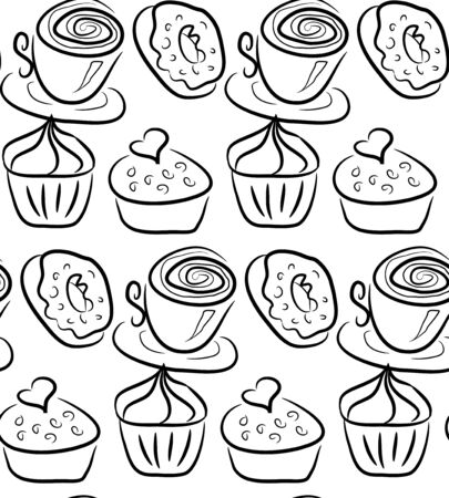 Hand drawn sweets and candies pattern. doodles. Isolated food on white background. Seamless texture. Ice cream, cake, donut, etc. Black and white.