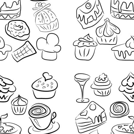 Sweet doodle pattern with cupcakes, cakes, candies and cones. hand drawn seamless pattern Ilustracja