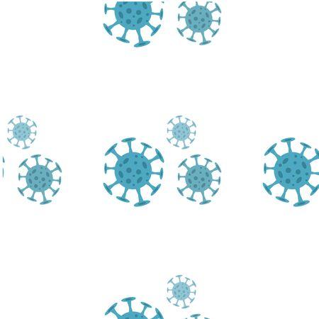 Seamless pattern with coronavirus virus in 2020. World Coronavirus Cell