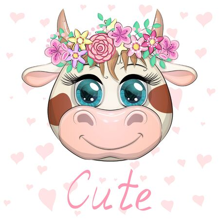 Cute cartoon face cow in a wreath of flowers with beautiful blue eyes. Children's illustration Vector Illustratie