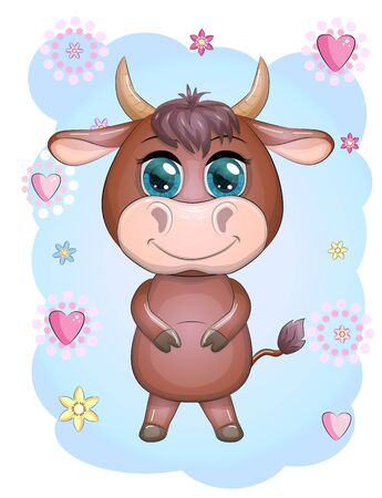 A cute cartoon bull standing with a smile with beautiful blue eyes among the flowers. Children's illustration Illustration