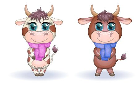 Cute cartoon couple cow and bull with scarves with beautiful big eyes. Symbol of the year 2021 according to the Chinese calendar. Children's illustration Illustration