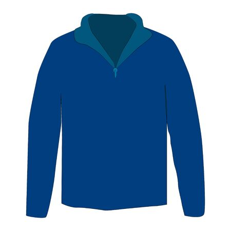 Half zipper long sleeve blue sweater isolated on a white background. Vecteurs