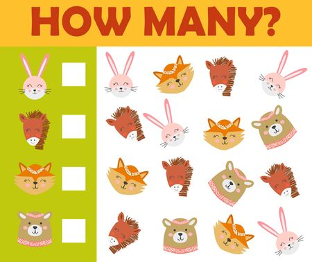 Counting animal games for preschool kids sheet layout in colorful printable version. Illustration