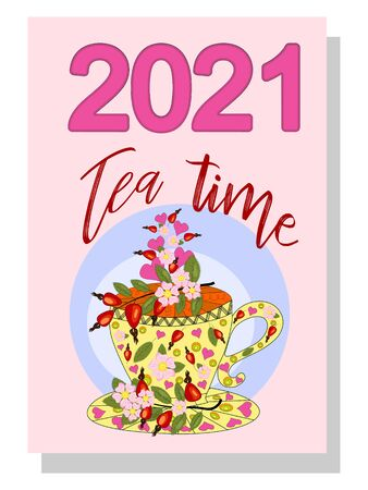 Drinks calendar 2021: with seasonal dessert drawings of various tea, coffee, cocoa. Fruits, berries, cakes, tea, mulled wine. Teas with prescription ingredients. Cover Ilustração