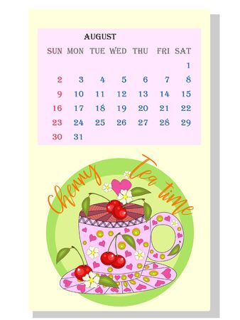Drinks calendar 2021: with seasonal dessert drawings of various tea, coffee, cocoa. Cherry - August. Fruits, berries, cakes, tea, mulled wine. Teas with prescription ingredients.