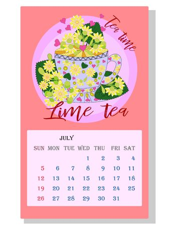 Drinks calendar 2021: with seasonal dessert drawings of various tea, coffee, cocoa. Linden - July. Fruits, berries, cakes, tea, mulled wine. Teas with prescription ingredients. Ilustração