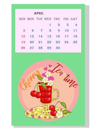 Drinks calendar 2021: with seasonal dessert drawings of various tea, coffee, cocoa. Cherry - April. Fruits, berries, cakes, tea, mulled wine. Teas with prescription ingredients.