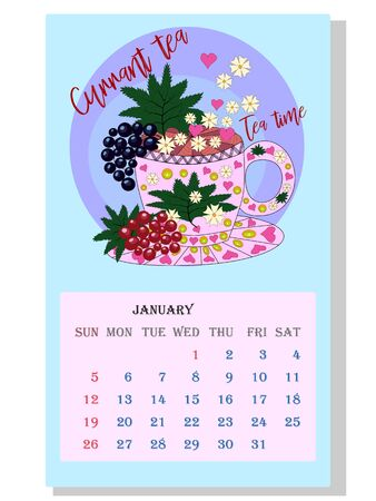 Drinks calendar 2021: with seasonal dessert drawings of various tea, coffee, cocoa. Currant - January. Fruits, berries, cakes, tea, mulled wine. Teas with prescription ingredients.