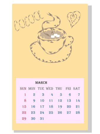 Drinks calendar 2021: with seasonal dessert drawings of various tea, coffee, cocoa. Cocoa - March. Fruits, berries, cakes, tea, mulled wine. Teas with prescription ingredients. Ilustração