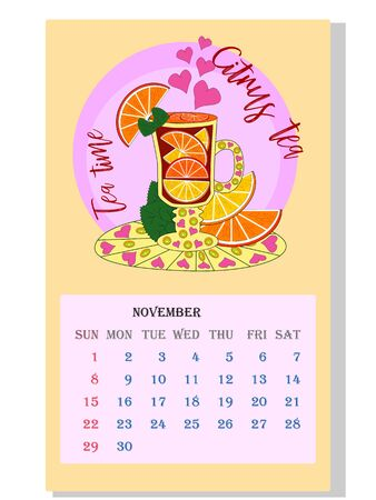 Drinks calendar 2021: with seasonal dessert drawings of various tea, coffee, cocoa. Citrus, Orange, Lemon - November. Fruits, berries, cakes, tea, mulled wine Teas with prescription ingredients