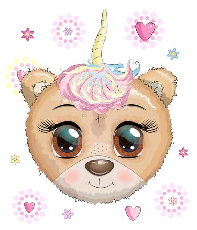 Cute cartoon muzzle bear with a unicorn horn in a wreath of flowers with beautiful blue eyes. Children's illustration