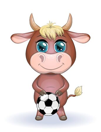 Cute cartoon cow, bull with a soccer ball, similarity between own points and hexagons of the ball, symbol of 2021 according to the Chinese calendar