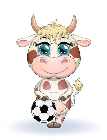 Cute cartoon cow, bull with a soccer ball, similarity between own points and hexagons of the ball, symbol of 2021 according to the Chinese calendar Çizim