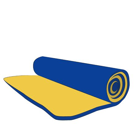 Rolled in a roll of camping mat isolated on white background. cartoon close-up illustration.