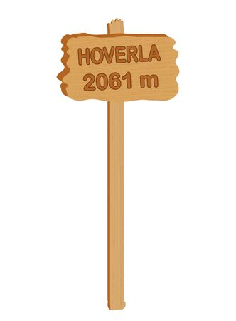 Wooden plate with the inscription Hoverla 2061 meter on a white background Stockfoto - 145004624