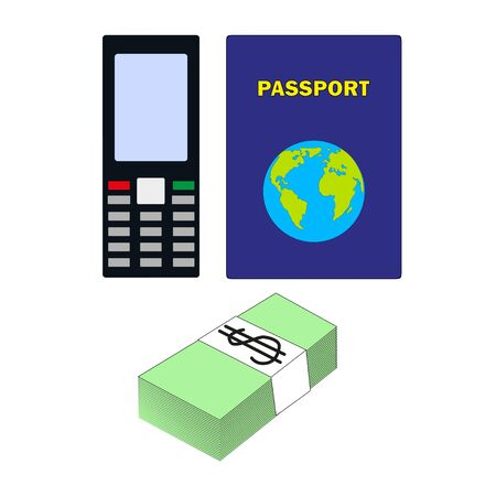 Mobile phone, a stack of banknotes of money and a passport. Travel and Travel Web Page Template. Vectores