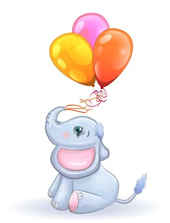 Cute cartoon elephant with beautiful eyes with balloons in the trunk, children's illustration.