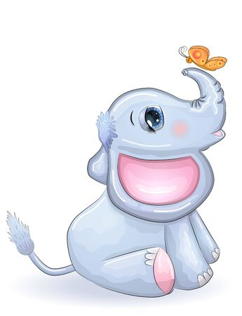 Cute cartoon elephant with beautiful eyes with a butterfly, children's illustration.