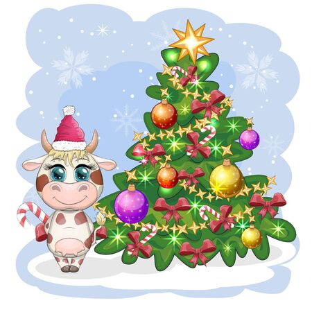 Cute cartoon cow near a Christmas tree with candy and in Santa's hat. Symbol of the year 2021 according to the Chinese calendar