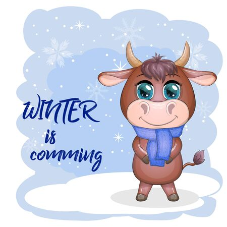 Cute cartoon bull with a scarf on his neck among the winter landscape. Winter is coming  イラスト・ベクター素材