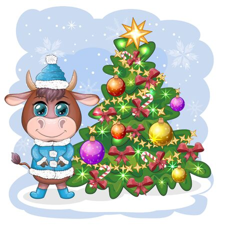 Funny cow in a fur coat with a Christmas tree on a background of snow. Card in cartoon style. Vectores