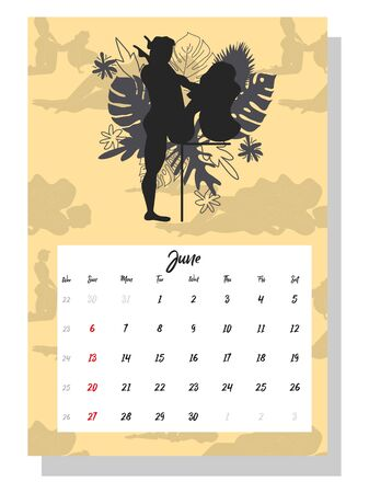 people make love. Concept calendar for 2021. Beautiful couples for every month of the year, silhouettes, relationships, family, Kama Sutra poses. Ilustrace