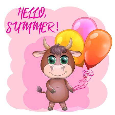 Cute cartoon bull with balloons among the flowers. Summer is coming.