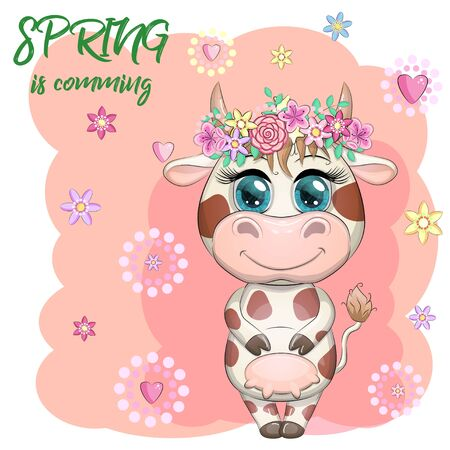Cute cartoon cow with a bouquet of flowers. Spring is coming. Symbol of the year 2021 according to the Chinese calendar.