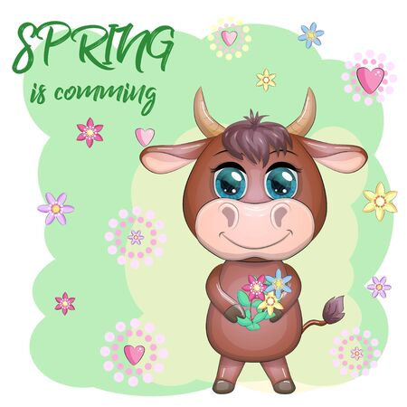 Cute cartoon bull with a bouquet of flowers. Spring is coming. Symbol of the year 2021 according to the Chinese calendar. Ilustrace