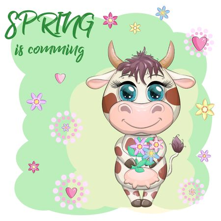 Cute cartoon cow with a bouquet of flowers. Spring is coming. Symbol of the year 2021 according to the Chinese calendar. Ilustrace