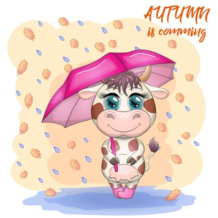 Cute cartoon bull with umbrella among the autumn landscape, leaves fall and rain. Autumn is coming.