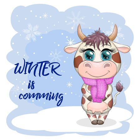 Cute cartoon cow with a scarf on his neck among the winter landscape. Winter is coming Ilustrace