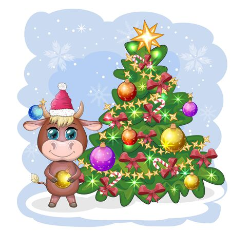 Cute cartoon ox, bull, near a Christmas tree with candy and in Santa's hat. Symbol of the year 2021 according to the Chinese calendar
