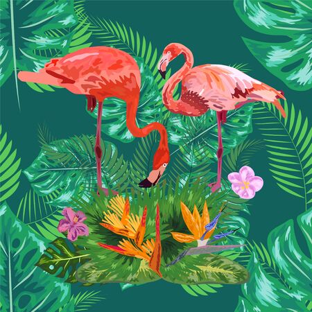 Pink exotic flamingo wading birds couple. Seamless pattern texture. green tropical jungle rainforest palm tree leaves.  イラスト・ベクター素材