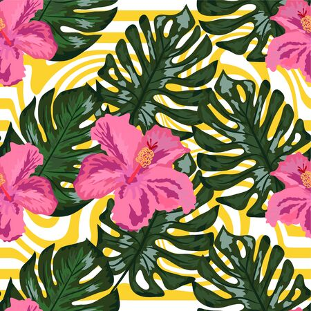 Seamless pattern with tropical orchid and hibiscus flowers, palm, banana and monstera leaves on striped background.
