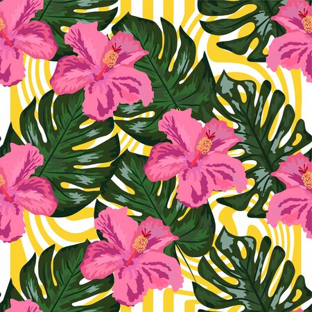 Pattern seamless floral on geometric background. Print summer exotic jungle plant tropical palm leaves and flower red hibiscus. Nature wallpaper.