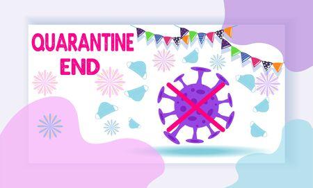 Layout of the quarantine area of coronavirus epidemic covid-19. Banner. Ending quarantine. Quarantine canceled.