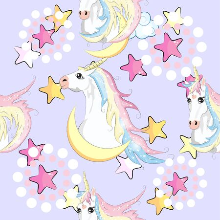 Seamless pattern with unicorns and stars. Baby background