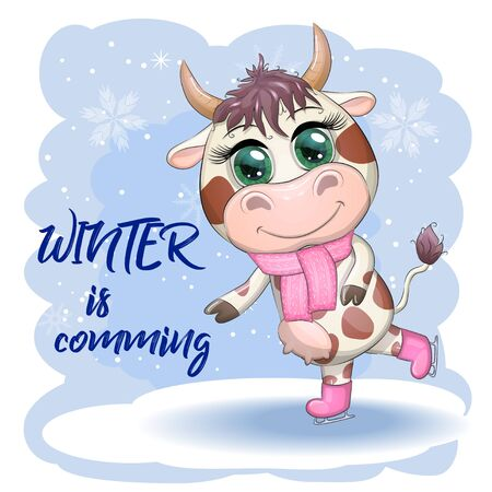 Cow on skates flat vector animal, lovely cow skating, brown cow making winter sport, outdoor winter activity, human like cow skating. Winter is cooming Illustration