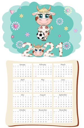 White ox calendar or planner for 2021 with kawaii cartoon bull, bull or cow, New Year character, cute characters. Week Starts Sunday