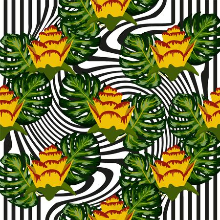 Summer seamless tropical pattern with bright yellow and pink plants and leaves on a striped background, distortion
